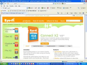 Screen shot of Eye Fi products page