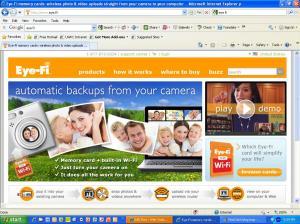 Screenshot of home page of Eye Fi website