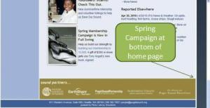 Screenshot showing Spring Campaign at bottom of home page