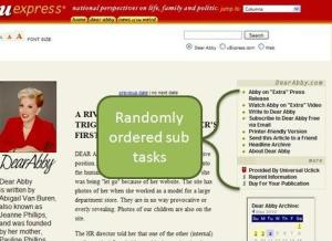 Screen shot showing random order of sub tasks
