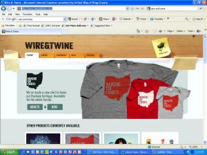 Screenshot of home page for Wire and Twine website