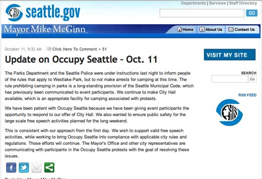 Seattle Mayor Mike McGinn's blog