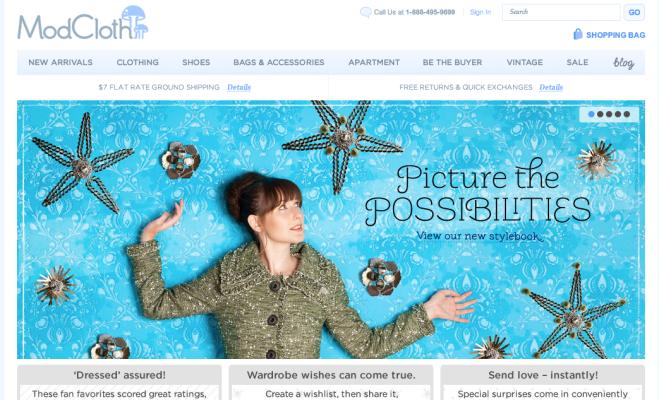 Modcloth.com Homepage