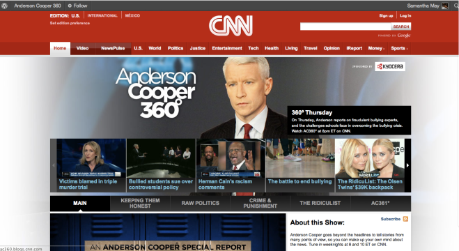 Anderson Cooper 360 blog front page