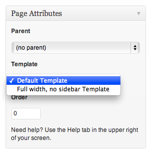 wordpress No sidebar template